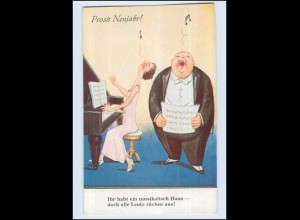 P3G50/ Neujahr dicker Mann und Frau am Klavier singen, Humor AK ca.1935
