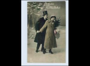 P3F35/ Weihnachten Paar mit Tannenbaum und Geschenke Foto AK ca.1912