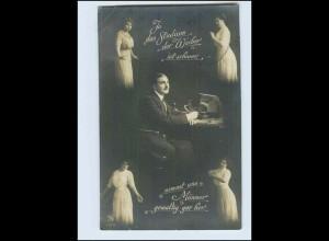 P3G44/ Schöne Fotomontage Foto AK Mann und Frauen 1915
