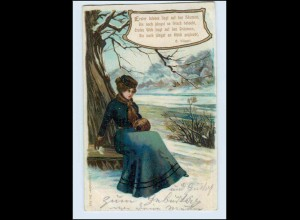P3F97/ Liebeslieder Litho AK Frau mit Muff ca.1900