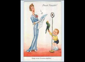 P3G51/ Neujahr Humor AK Frau singt, Papagei und Kind ca.1935