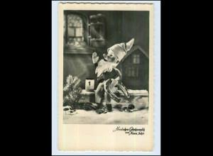 P3G47/ Neujahr Zwerg Puppe Foto AK ca.1950