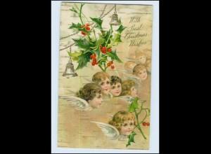 P3J76/ Weihnachten Christmas Engel Litho Prägedr. AK ca.1910