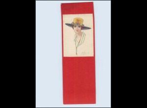 P3M19/ Colombo Künstler AK Frau mit Hut Italien Format 14 x 4,5 cm ca. 1920