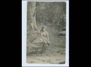 P3M39/ Waldidylle - junge Frau am Fluß Bach Strümpfe Künstler AK ca.1900