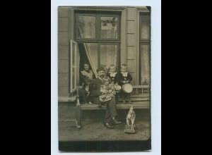 P3P29/ Kinder mit Spielzeug Holzpferd, Trommel Privat Foto AK 1910 (b)