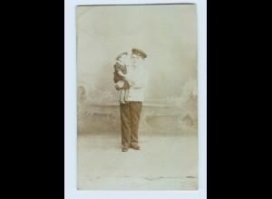 P3P13/ Kind in Uniform mit Puppe Privat Foto AK ca.1912 (b)