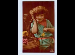 P3P28/ Mädchen mit Telefon schöne Amag Foto AK ca.1920 (b)