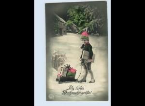 P4B82/ Weihnachten Kind mit Schlitten Foto AK 1927