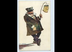 P4D39/ Betrunkener Mann mit Laterne Künstler AK Gehrweiller 1914