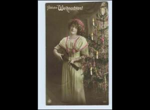 V0A00/ Weihnachten junge Frau mit Laute Foto AK 1911