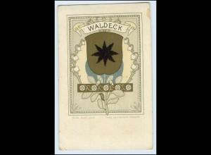 W0L18/ Waldeck Wappen Litho AK ca.1900