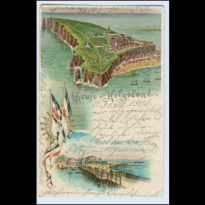 W0N38/ Gruß aus Helgoland schöne Litho AK 1904