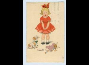 W9Z01/ Mädchen mit Puppe und Hund sign: LD Meissner & Buch 1923