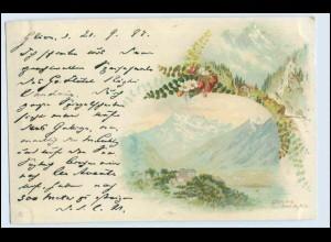 W0S68/ Glion schöne Schweiz Litho AK ca. 1898