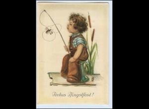 W1B67/ Pfingsten Junge mit Angel H. Peyk AK 1941
