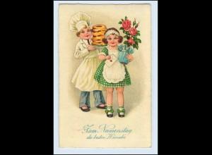 W1B45/ Namenstag Litho AK Kind als Konditor mit Kuchen 1939