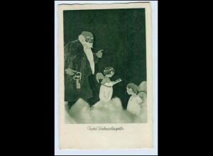 W1B33/ Weihnachten Weihnachtsmann und Engel schöne AK ca.1930
