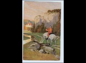 W1L36/ Jagd Jäger zu Pferde Paul Hey AK ca.1920
