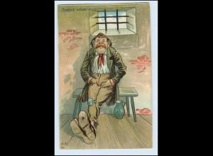W1L18/ Endlich allein! Mann im Gefängnis Litho AK ca.1910