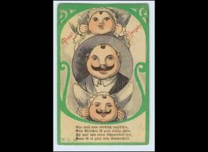 W1L22/ Neujahr Humor Litho AK Mann mit Schnurrbart ca.1900