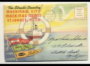 W1T80/Mackinaw City, Mickinac Island Leporello Souvenir de Folder 18 Bilder 1943