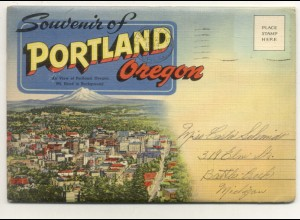 W1T61/ Portland Oregon USA Leporello Souvenir de Folder 18 Bilder ca.1945