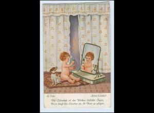 W2D22/ Kind mit Parfum Hund Künstler AK H. Zahl 1917