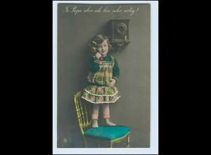 W2H50/ Kleines Mädchen telefoniert Telefon AK ca.1912