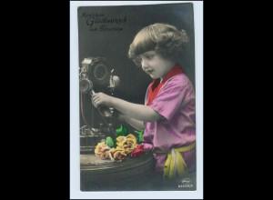 W2H55/ Kind telefoniert Telefon Geburtstag Foto AK ca.1920
