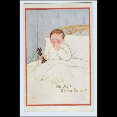W2H52/ Telefon Kind telefoniert im Bett - Tuck`s AK ca.1912