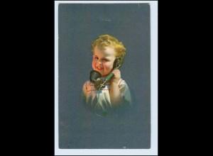 W2H53/ Kind telefoniert Telefon AK ca.1912