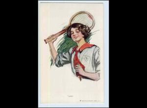 W2H77/ Frau spielt Tennis Künstler AK Verlag: Reinthal ca.1912