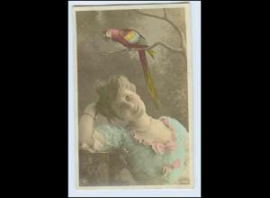 W2J85/ Frau mit Papagei NPG Foto AK 1910 Oranogravüre