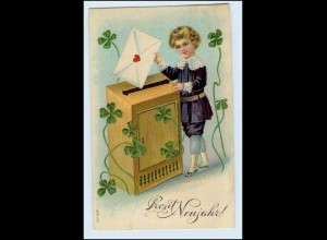 W2T45/ Neujahr Kind mit Brief Briefkasten Litho Prägedr. AK 1909