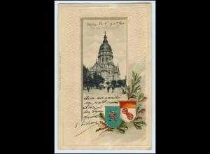 W3C40/ Mainz schöne Litho Prägedr. Wappen AK 1904