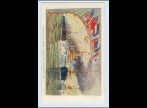 W3M49/ Jamestown Exposition 1907 AK Ausstellung Schiffe Navy