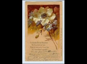 W3J50/ Blumen mit Spruch schöne Litho Prägedr. AK 1906