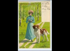 W3L95/ Pfingsten schöne Mailick Litho AK Frau mit Hund