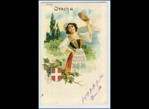 W3M79/ Italien Trachten Litho AK Jugendstil Wappen 1901