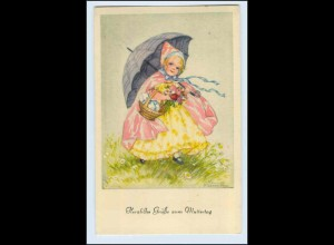 W3R77/ Muttertag Kind mit Blumen Hannes Petersen AK ca.1930