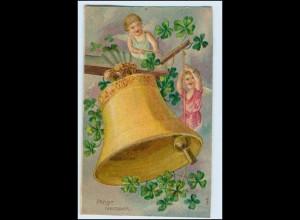 W3R23/ Neujahr Engel Glocke Litho Prägedr. AK 1908