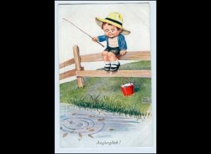 W3S56/ Kind angelt Fische Künstler AK John Wills 1933