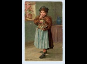 W3Q05/ Mädchen mit Kuchen schöne Künstler AK 1913