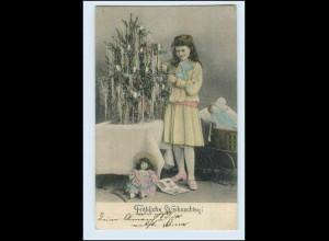 W5B20/ Weihnachten Mädchen mit Puppe AK 1905