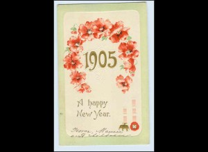 W4Q47/ Neujahr A happy new year 1904 Litho Prägedruck AK
