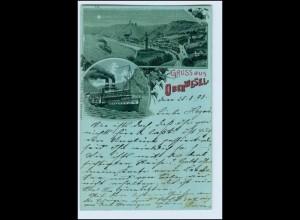 W4X30/ Gruß aus Oberwesel mit Rheindampfer Litho AK 1898