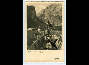 W5B36/ Königssee Jäger mit erlegten Hirsch Jagd Foto AK ca.1935