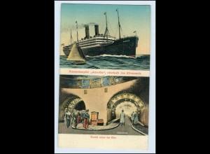 W5A96/ Hamburg Hafen Dampfer Amerika AK Elbtunnel ca.1912