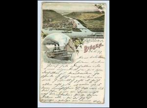 W4X32/ Gruß aus Bingen mit Rheindampfer Litho AK 1897